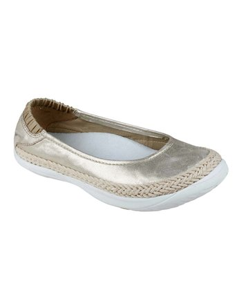 Gold Insignia Leather Flat