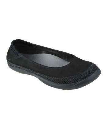 Black Insignia Leather Flat