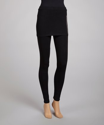 Black Zipper Skirted Leggings