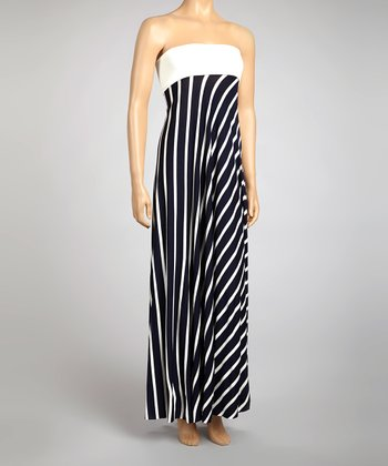 Navy & White Stripe Strapless Dress