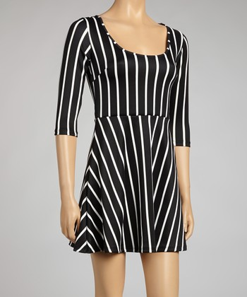 Black & White Stripe A-Line Dress