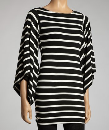 Black & White Stripe Bell Sleeve Dress