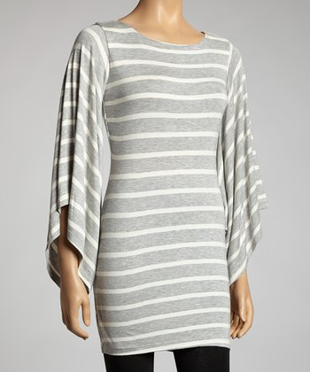 Heather Grey & White Stripe Bell Sleeve Dress