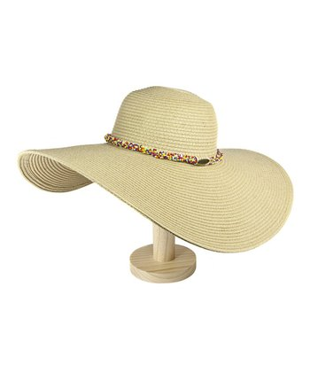 Natural Beaded Floppy Sunhat