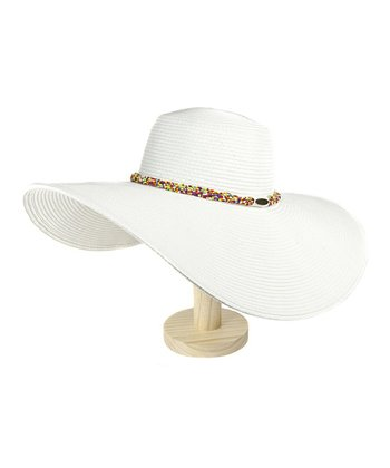 White Beaded Floppy Sunhat