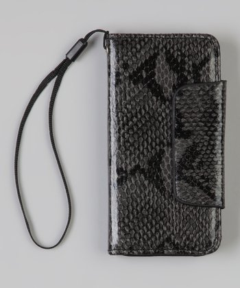 Gray Python Wallet Case for iPhone 5