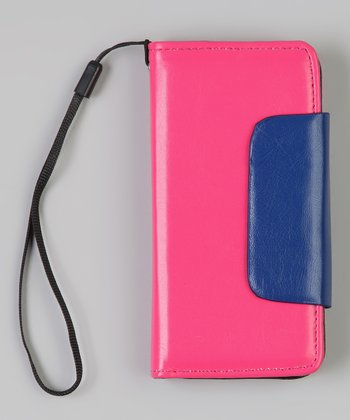 Pink & Blue Wallet Case for iPhone 5