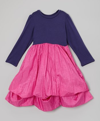 Navy & Fuchsia Long-Sleeve Infinity Dress - Girls