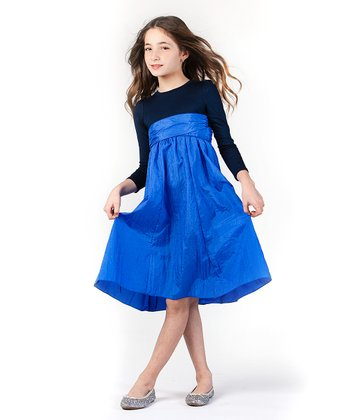 Navy & Blue Long-Sleeve Infinity Dress - Girls