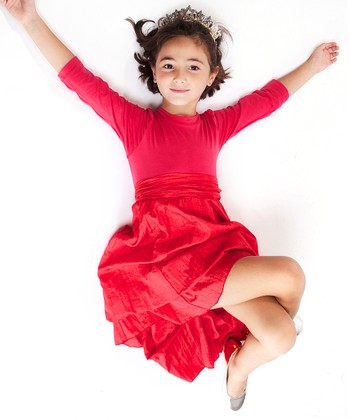 Pink & Red Long-Sleeve Infinity Dress - Girls