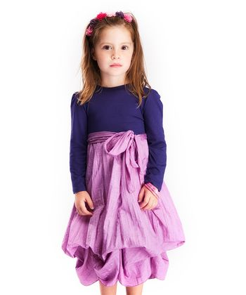 Blue & Lavender Long-Sleeve Infinity Dress - Girls