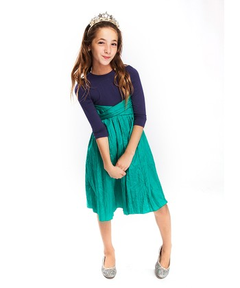 Blue & Green Long-Sleeve Infinity Dress - Girls