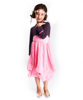 Gray & Light Pink Long-Sleeve Infinity Dress - Girls