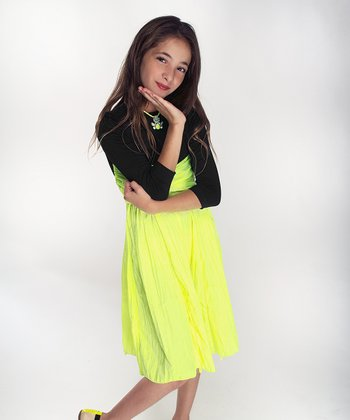 Black & Neon Yellow Long-Sleeve Infinity Dress - Girls