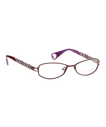 Betsey Johnson Burgundy Bangled Beauty Eyeglasses