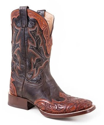Brown & Cognac Wingtip Cowboy Boot - Men