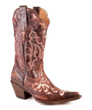 Wine Python Distressed Underlay Cowboy Boot - Women