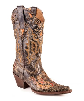 Black Python Distressed Underlay Cowboy Boot - Women