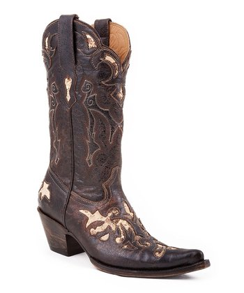 Brown Crackle Exotic Cowboy Boot - Women