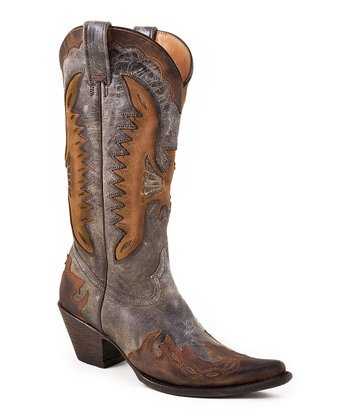 Gray Crackle Cowboy Boot - Women