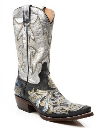 Metallic White & Black Overlay Cowboy Boot - Women