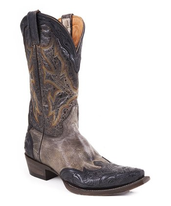 Black & Brown Embossed Wingtip Cowboy Boot - Women