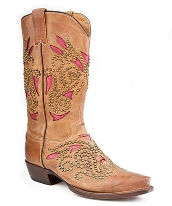 Tan & Pink Sanded Rivet Cowboy Boot - Women