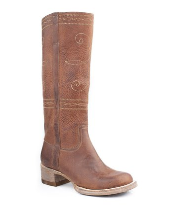 Rustic Brown Distressed Swirl Stitch Cowboy Boot - Women
