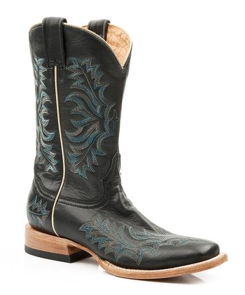 Burnished Black & Blue Stitch Cowboy Boot - Women