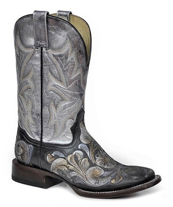 Metallic White & Black Roper-Heel Cowboy Boot - Women