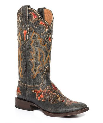 Black Crackle Laser Python Cowboy Boot - Women