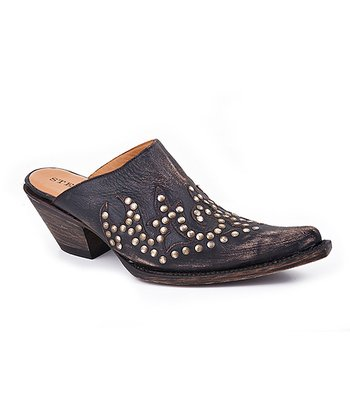 Distressed Black Rivet Mule - Women