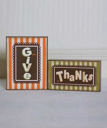 'Give Thanks' Small Decorative Block Set