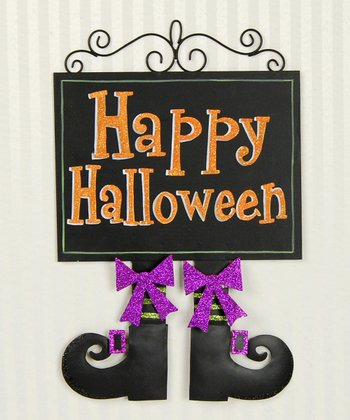'Happy Halloween' Witch Shoe Wall Decoration