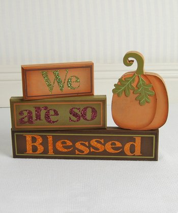 'We Are So Blessed' Pumpkin Decorative Block Set