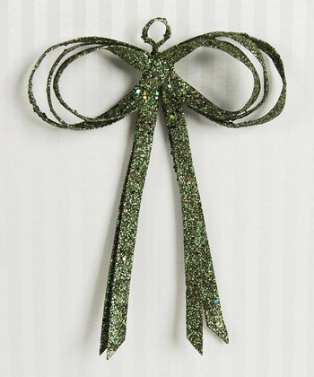 Green Glitter 8'' Bow - Set of Six