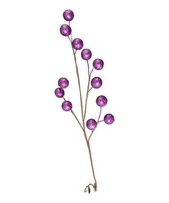 Purple Decorative Berry Branch - Set of Six