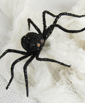 Black Glitter Spider Decoration - Set of Four