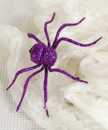 Purple Glitter Spider Decoration - Set of Four
