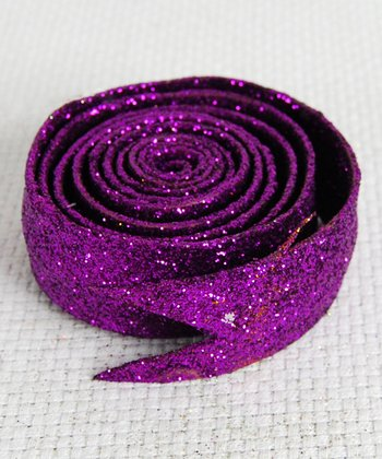Purple Glitter Ribbon - Set of Six