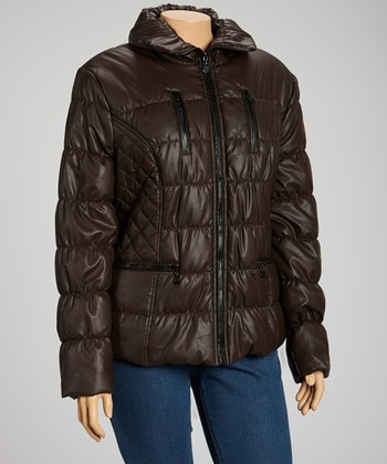 Coffee Puffer Jacket - Plus