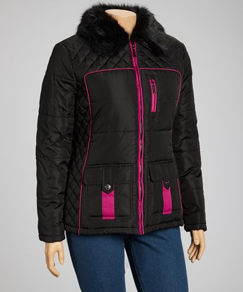 Black & Fuchsia Fur Trim Puffer Jacket