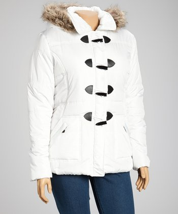 White Toggle Hooded Puffer Jacket - Plus