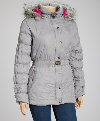 Silver Belted Hooded Puffer Jacket