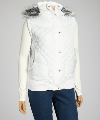 White Hooded Puffer Vest - Plus