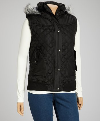 Black Hooded Puffer Vest - Plus