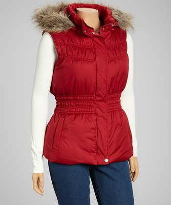 Red Peplum Hooded Puffer Vest