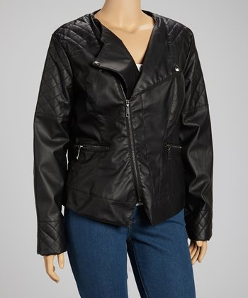 Black Asymmetrical Zip Moto Jacket
