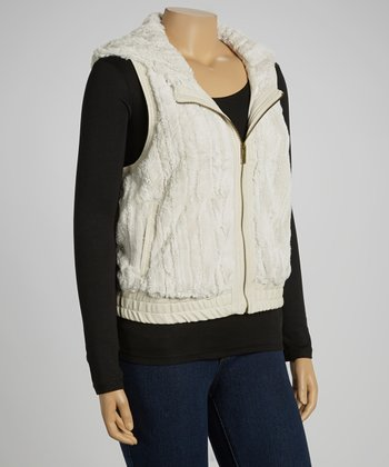 Ivory Stripes Faux Fur Vest - Plus
