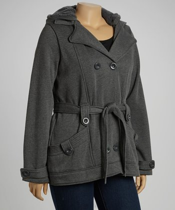 Charcoal Fleece Trenchcoat - Plus